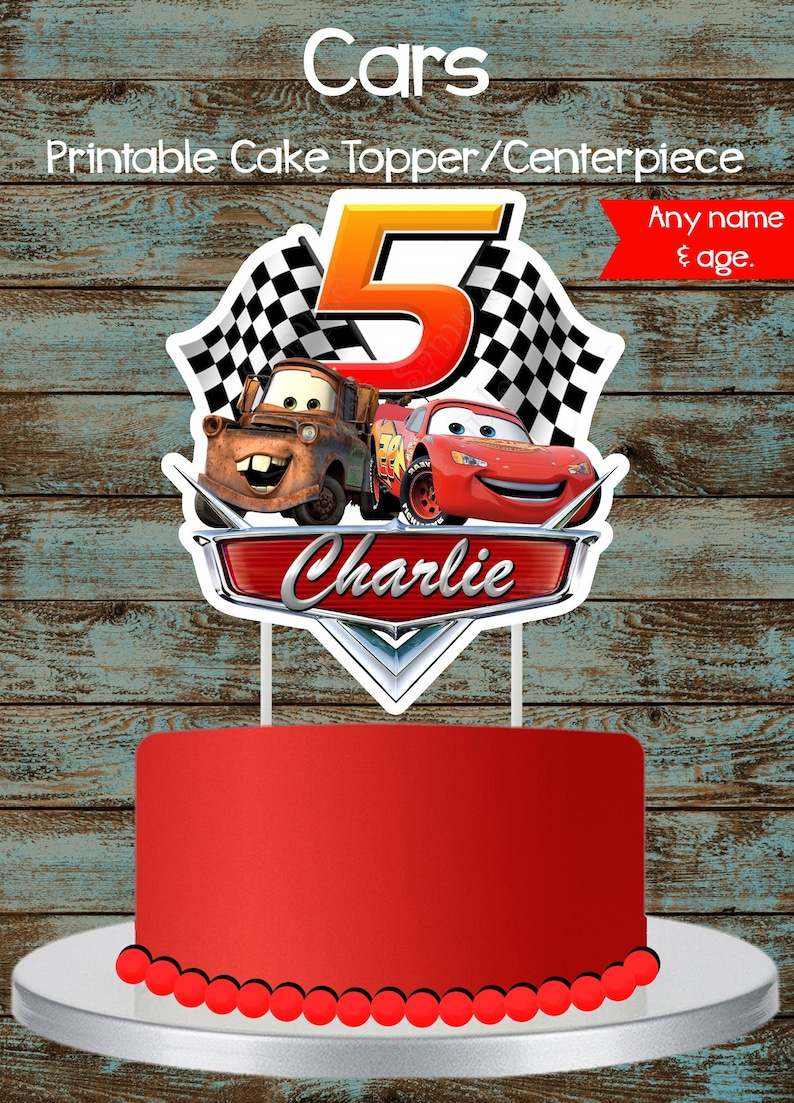Cars Cake Topper Disney Printable Lighting