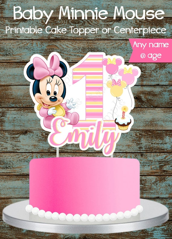 Admirable Baby Minnie Mouse 1St Birthday Cake Topper Printable Custom Etsy Personalised Birthday Cards Veneteletsinfo