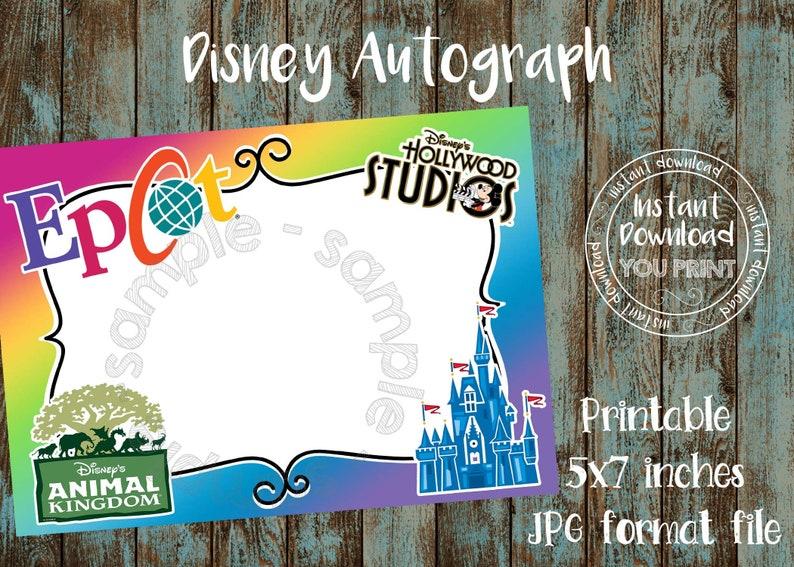 Disneyland Park Logos Autograph Photo Printable Disney Park Logos Autograph card Disney World Park Logos Autograph Book