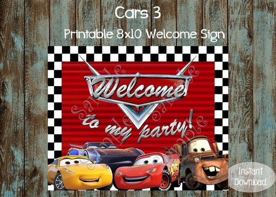 Cars Welcome Sign Cars Printable Sign Cars Birthday Party