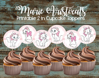 Marie Aristocats Cupcake Toppers, Marie Aristocats Printable Cupcake Toppers, Marie Aristocats Party Supplies, Marie Aristocats Decorations