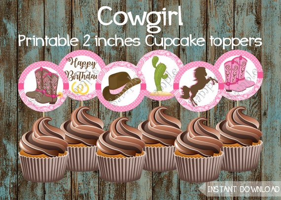 Brilliant Cowgirl Cupcake Toppers Cowgirl Printable Cupcake Toppers Etsy Personalised Birthday Cards Sponlily Jamesorg