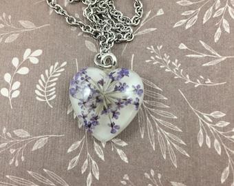 Purple Queen Anne's Lace Heart Necklace