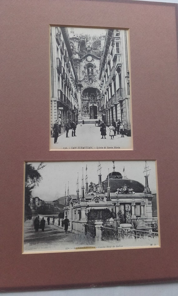 Banos San Sebastian.Two Antique Mounted Photographic Postcards Of San Sebastian Black And White 150 Iglsia De Santa Maria And 15a Caseta Real De Banos