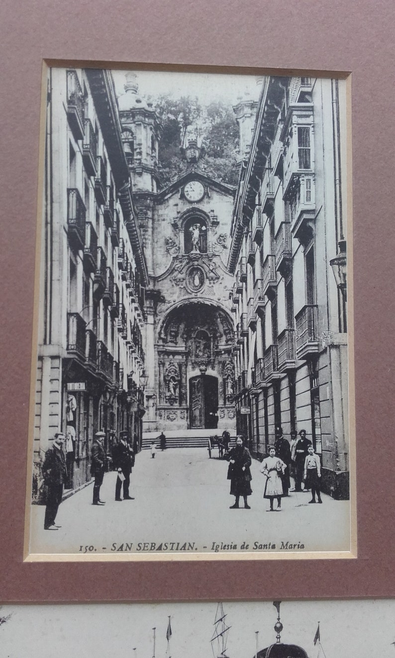 Black and White 150 Iglsia de Santa Maria and 15a Caseta Real de Banos Two Antique Mounted Photographic Postcards of San Sebastian