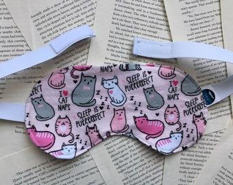 Rice Eye Mask - Cat Nap Flannel Pattern