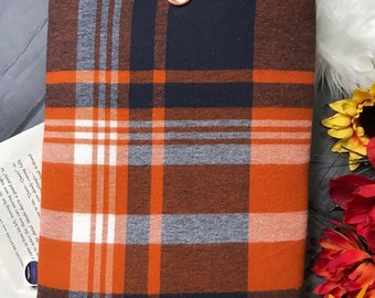Book Sleeve - Fall Plaid Flannel/Sienna Minky Dot