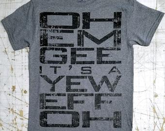 O.M.G. it's a U.F.O. on Graphite Heather tee shirt