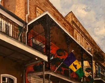Original acrylic: Tennessee Williams' flat at 722 Rue Toulouse, New Orleans (1945-1948)