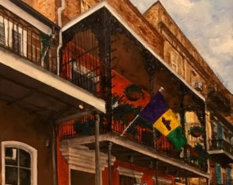 Hand-signed giclee on canvas: Tennessee Williams' Flat at 632 Rue St. Peter, New Orleans