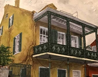 Hand-signed giclee on canvas: 1014 Rue Dumaine, Tennessee Williams' last home, New Orleans