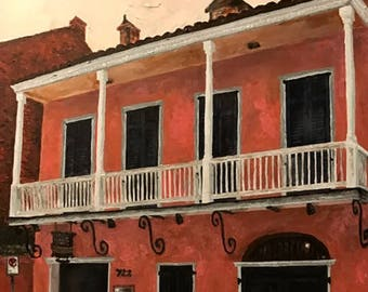 Original acrylic: 722 Rue Toulouse, Tennessee Williams' first home in New Orleans