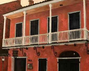 Hand-signed giclee on canvas: 722 Rue Toulouse, Tennessee Williams' first home in New Orleans