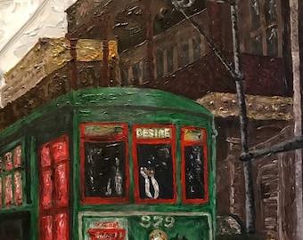 Original acrylic: That Rattletrap Streetcar Named Desire, 2018