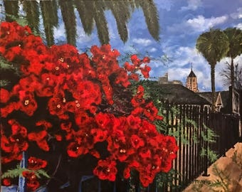 Original acrylic: Where Have All the Bougainvilleas Gone?; Hollywood, 2017