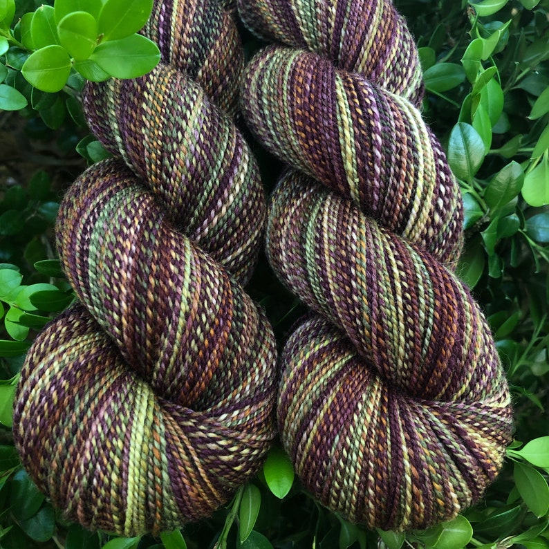and Gold Rust Woodland Rose Handspun Yarn 2 Skein Set Fingering Weight Burgandy Olive