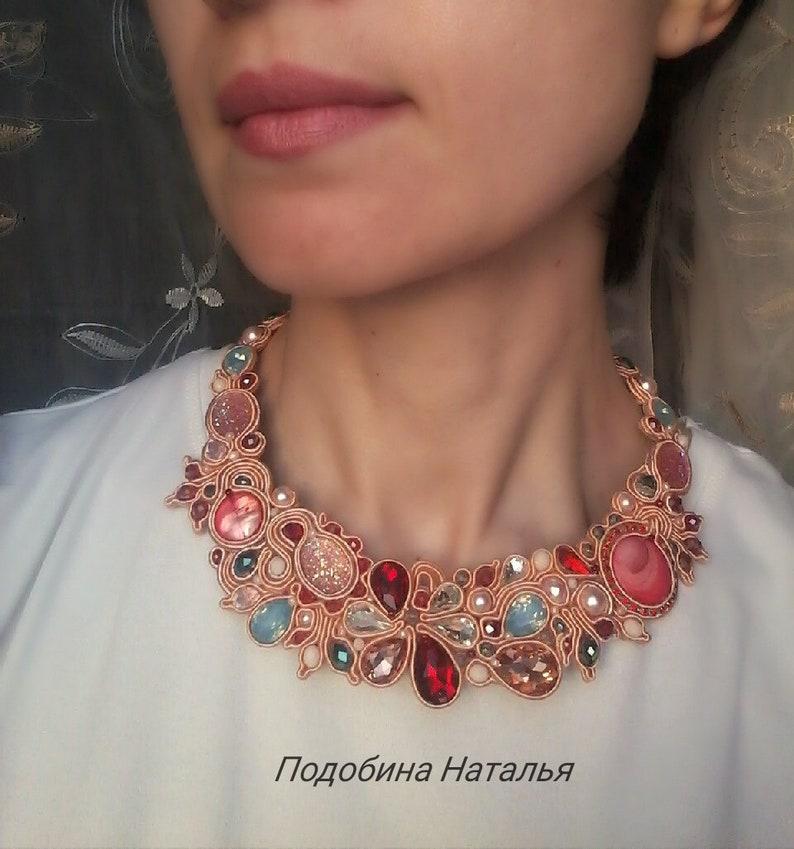 b4a73c0b9 Beautiful coral mint necklace soutache pastel pink jewelry | Etsy