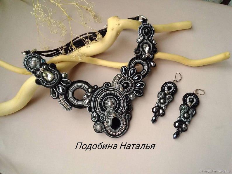 1983f3e6b Black soutache necklace set gray silver embroidered