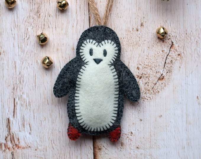 Pepper the Penguin, charcoal grey Christmas penguin, forest Christmas, felt Christmas ornament, handmade by Mischief & Mouse