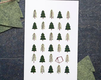 Happy Camper Greeting Card, Blank Inside Camping Card, Illustrated Trees and Tent, original design by Mischief & Mouse