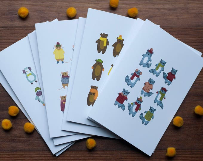 Chilly Critters Greeting Card Set [Set of 8]