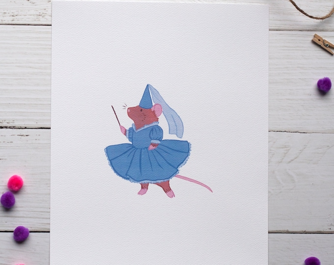 Twirling Mouse 8x10 Print [Blue]