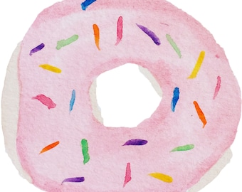 Whimsical Pink Sprinkled Watercolor Doughnut