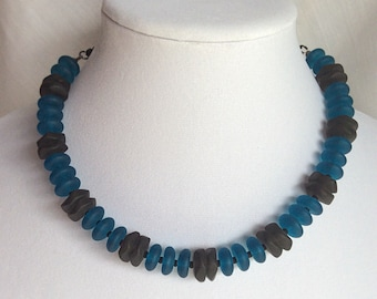 Sea Glass - Turquoise and Black