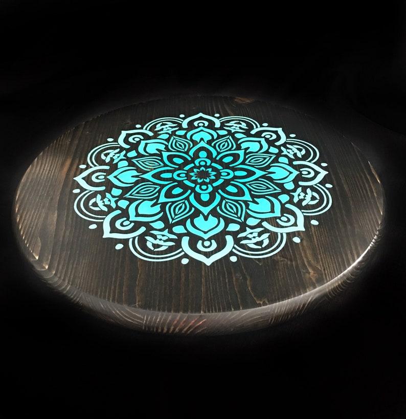 Small wood lazy suan Aqua home decor Mandala painted lazy susan Table centerpiece Decorative tray Wood Turntable