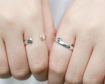 Dainty Cat Ears Ring - Minimalist - Cat Lovers - Adjustable - 925 Sterling Silver #ST04