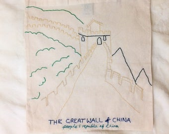 The Great Wall of China // Hand Embroidered Fair Trade Cotton Tote // Landscape Series // Birthday Gifts // Christmas Gifts // gifts for her