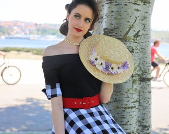 e1736d1a76fd Original Belsira Vintage 1950 s Style Dress. Off-the-Shoulder Swing Dress.  Full Skirt. Black and White. Size XS   S