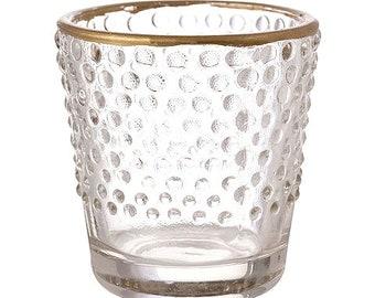 Bubbles Glass with Gold Rim Votive & Tea Light Candle Holder