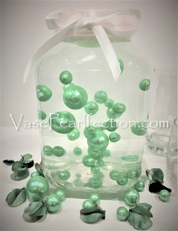 Mint Blue Pearls-Jumbo//Assorted Sizes Vase Decorations