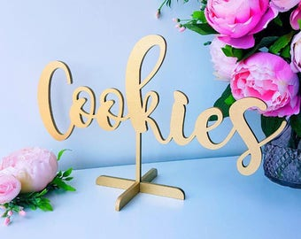Cookies table sign. Freestanding table sign for wedding.