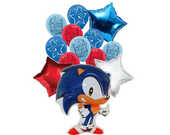 13pc Sonic Birthday Balloon Ensemble ~ Party Supplies Decorations~ Sonic the Hedgehog Balloons ~ Sonic Balloon Bouquet
