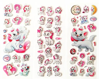 3 Sheets Aristocats 3D Bubble Stickers ~ Aristocats Party Favors ~ Marie Cat Stickers Favors