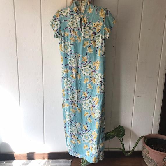 Hawaiian print kimono style dress