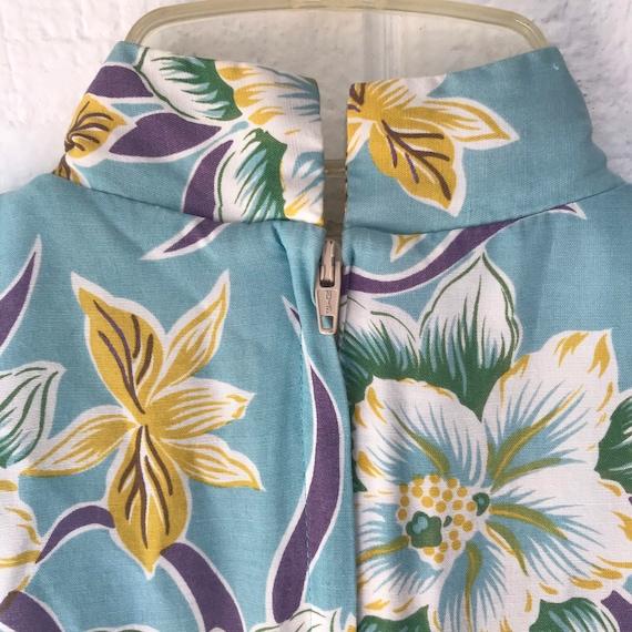 Hawaiian Print Kimono Style Robe Kai Nani Barkcloth Tropical Top