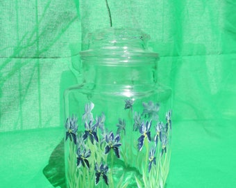 hand painted purple iris canister