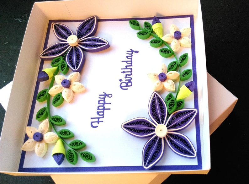 happy birthday quilled greeting card art paper handmade  etsy