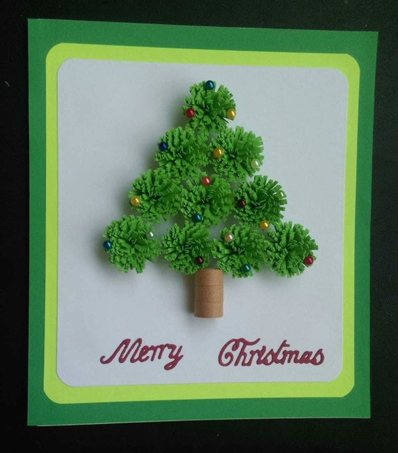 Merry Christmas Quilled Greeting Card Quilled Christmas Card Etsy
