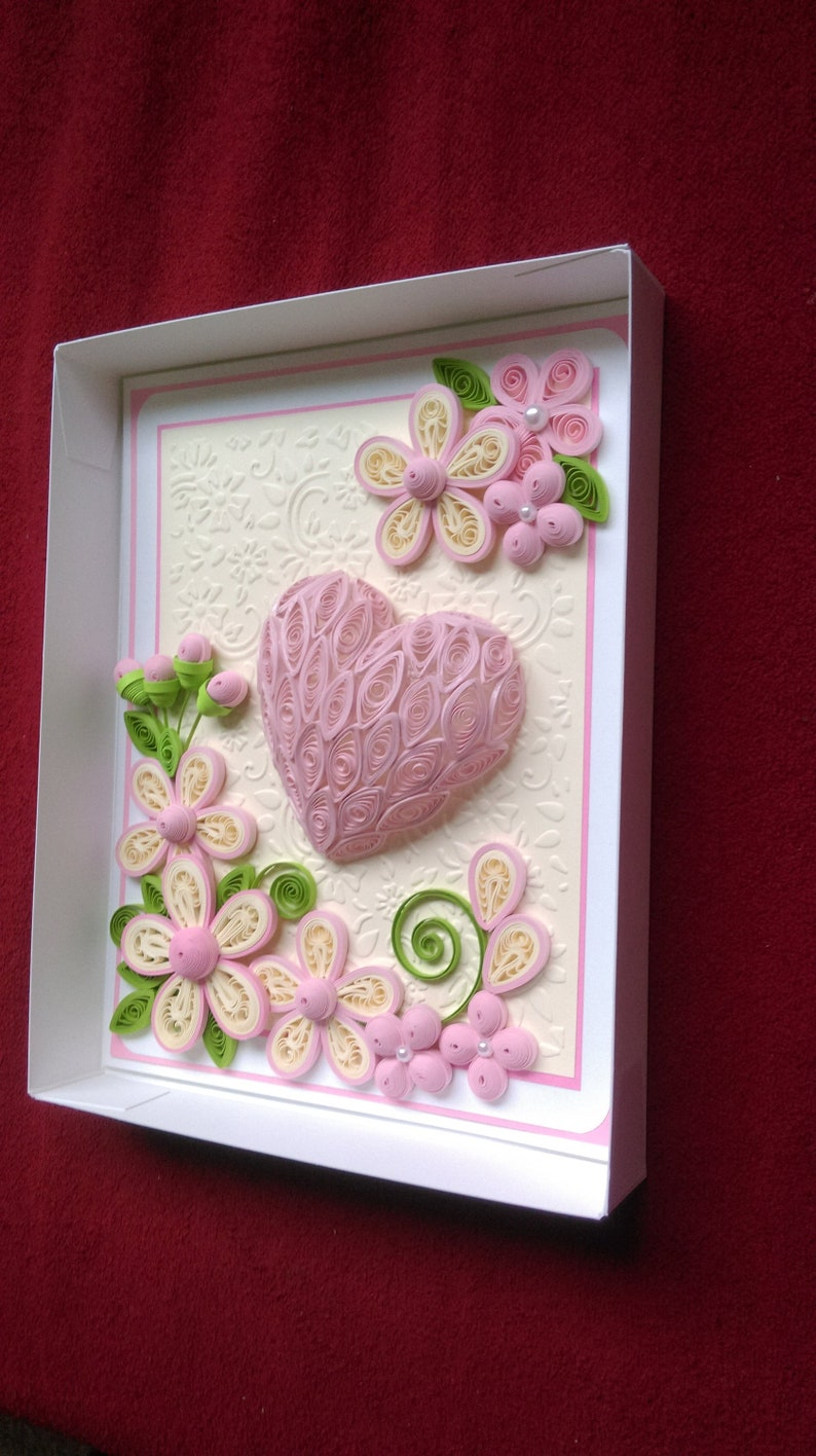 3D Heart Quilled Greeting Card Wedding Love