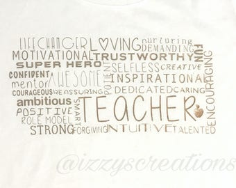 Teacher Tshirt- Custom Teacher T-shirt- Teacher Word Cloud T-shirt