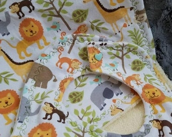 Zoo animal burp cloth, Gender neutral burp cloth, Baby burp cloth, Baby shower gift, Newborn gift, Giraffe, Lion, Monkey, Elephant