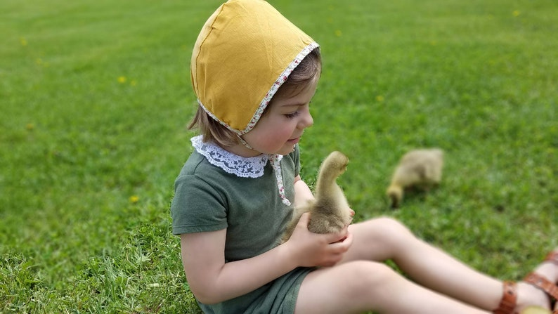 Evy Collection Soft Cotton Fall Summer Spring hat Bonnet made Reversible dual side Mustard Baby Bonnet with Wild flower fields