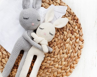 Cotton Crochet Sleepy Bunny Head Soft Stuffed Bunny Doll Baby's First Toy Sleeping Buddy Security Blanket Toy with Rattle and Crinkle Ears