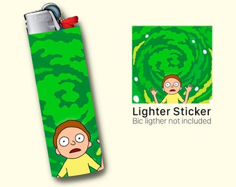 Morty Lighter Sticker For BIC Lighter, Rick and Morty Lighter Vinyl Sticker, lighter cover