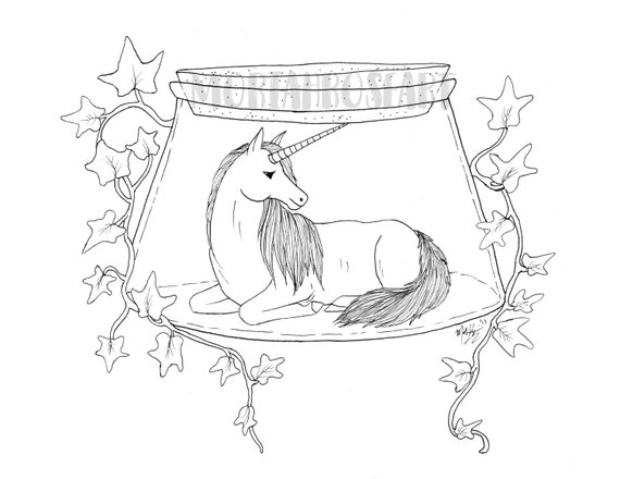 Bottled Unicorn Coloring Page Digital Download Printable Etsy