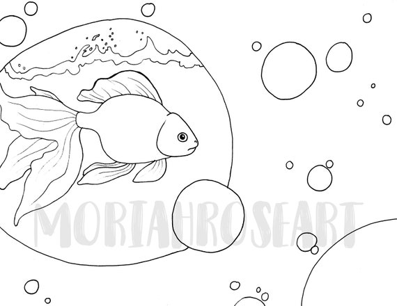 Goldfish Coloring Page Digital Download Printable Adult Etsy